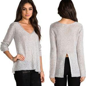 BB Dakota gray/silver sequin mohair sweater